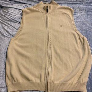 Izod Cotton full zip Golf Sweater Vest Beige